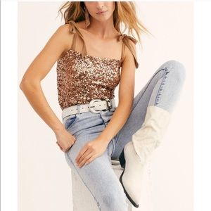 NWT Free People Hey Girl Sequin Cami Top Rose Gold